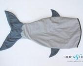SHARK tail quilt blanket - blankie sleeping bag made to order fish mermaid