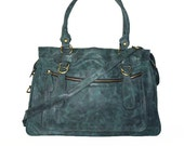 Distressed Leather handbag tote handbag cross-body bag Rina XXL in vintage teal blue fits a 17 inches laptop