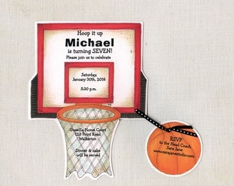 Personalized - Basketball - Birthday - Party - Invitation - Hoop - Invite - Sports - Handcut - Sara Jane