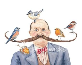Bird Watercolor Print - Man Watercolour Portrait - English Robin, Tufted Titmouse,11x14