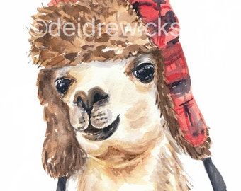 Llama Watercolour - 8x10 Watercolor PRINT, Trapper Hat, Funny Llama, Illustration Print