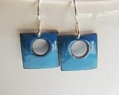 Tiny blue enamel square earrings Modern geometric jewelry Minimalist enameled dangles Petite sterling silver drops