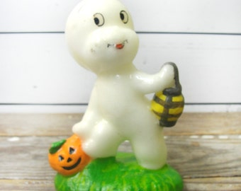 casper halloween decorations. Vintage Casper Candle Halloween Decoration, The Friendly Ghost With Pumpkin And Lantern Decorations