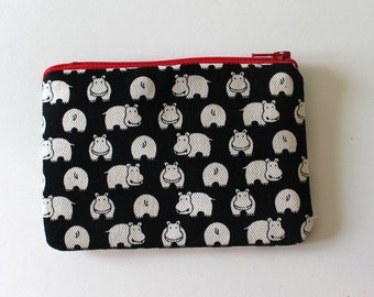Herd of Hippos Zip Pouch - Small Zip Pouch Coin Purse Wallet - Made from Japanese import fabric