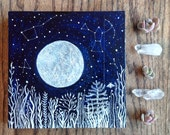 Made to order painting, Big Dipper, Orion & The Harvest Moon, Original Painting by Elise Mahan