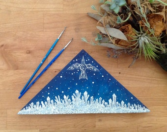 original Painting on wood, celestial bird and the ice forest