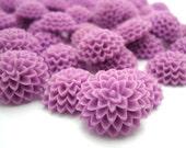 10 x Purple Resin Flowers - Flat Back Cabochons - Jewellery Supplies - 15x6mm