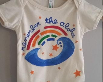 aloha rainbow, organic hand painted onesie or little T-shirt