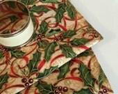 Christmas Napkins | Poinsettia Christmas Napkins | Napkin | Cotton Fabric Christmas Napkin | Holiday Napkin | Linens | Christmas Gold