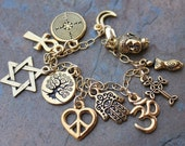 Gold World Religions Coexist Charm Bracelet - Peace Sign Heart, Star of David, Hamsa Hand, Buddha, Om, Ankh, Cross & more- Free Ship USA