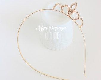GOLD rhinestone Princess Crown Headband Bow Halloween birthday photo prop