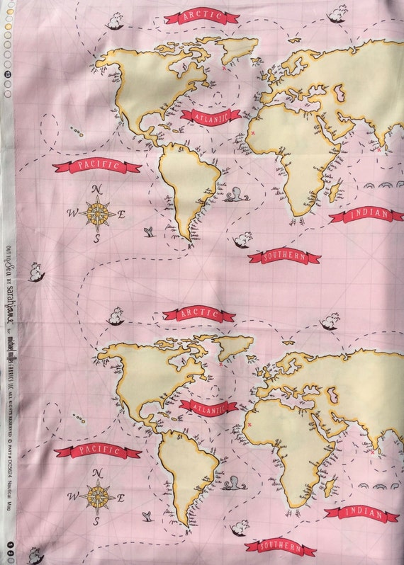 "Sarah Jane Out to Sea World Map pink fabric 24"" panel OOP HTF"