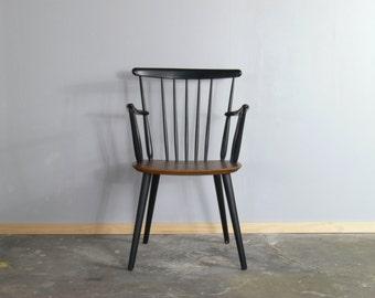 Vintage Danish Teak & Ebonised Frastrup Armchair