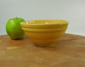 "Yellow Ware Yelloware 6"" Bowl - Unmarked Maker - Ribbed"