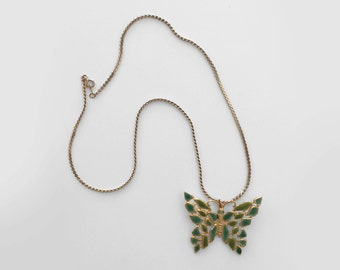 """70's butterfly necklace. 1970 pendant necklace. 24"""" gold. green enameled. boho."""