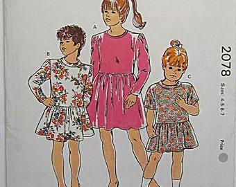 RARE Vintage 90's Children's, Girls' Pullover Dresses Kwik Sew 2078 Sewing Pattern UNCUT Sizes 4-7