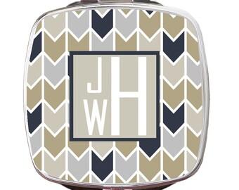 Personalized Compact Mirror, Herringbone Personalized Monogrammed Compact Mirror, Custom Compact Mirror, Bridal Gift