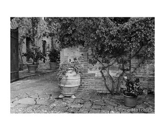 "Fine Art Black & White Photography of Tuscany - ""Courtyard at a Tuscan Winery"""