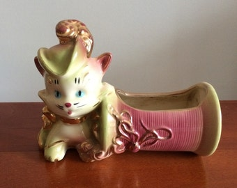Cat with a Hat Kitty Cat Pottery Ceramic Vase - Planter Musketeer Kitty Fun Planter Puss in Boots