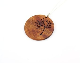 Round wood tree necklace