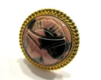 Vintage Carved Rhodonite Ring Adjustable Gold Tone Ring Large Gemstone Ring Bold Bohemian Ring Size 8 Statement Ring