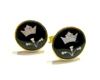 Vintage Guilloche France Cufflinks Cuff Links Black White Crown Signed