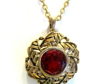 "Vintage Red Rhinestone Medallion Necklace Foil Back Rhinestone Necklace Round 29"" Gold Necklace"