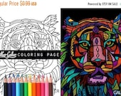 70% Off Today- Tiger coloring, Animal coloring book, adult coloring book, coloring pages, adult coloring pages, coloring book for adults, pr