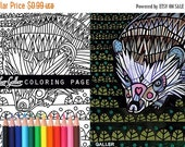 25% Off - Hedgehog coloring, animal coloring book, adult coloring book, coloring pages, adult coloring pages, coloring book for adults