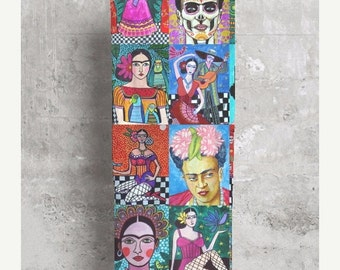 30% Off- Frida Kahlo Scarf Modal Mexican FOLK ART Fashion by Heather Galler Custom Made Scarves Sugar Skulls Frida Kahlo