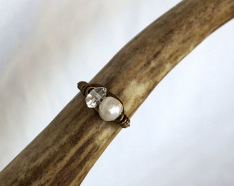Herkimer Diamond and Fresh Water Pearl Ring
