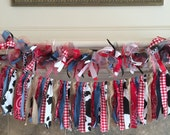 Western Fabric Garland, Farm Fabric, Tulle and Ribbon Garland, Farm Party Garland, Western Cowgirl Garland, Barnyard Fabric Tulle and Ribbon