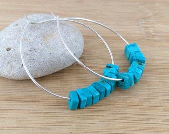 Turquoise Beaded Hoops. Sterling Silver Hoop Earrings. Blue Earrings. Teal Dyed Howlite Hoops.