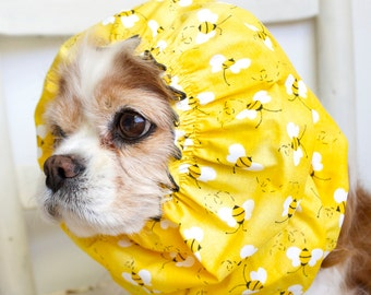 Yellow Bee Dog Snood,  Stay-Put 3 Rows Elastic Thread, Cavalier King Charles or Cocker Snood