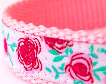 Rose Gardens Dog Collar, Shabby Chic Pet Collar, Cottage Chic Pink Collar