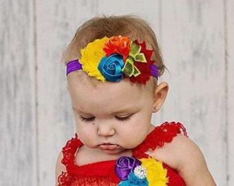 Rainbow rose embellished infant headband