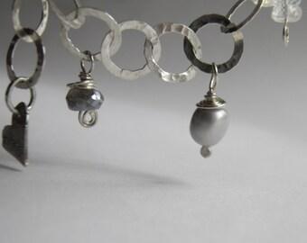 Sterling Silver Bracelet Pearls Labradorite Rainbow Moonstone & Large Link Chain