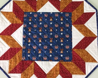 Patriotic Americana Liberty Bell Quilted Table Topper Wall Hanging Quiltsy Handmade