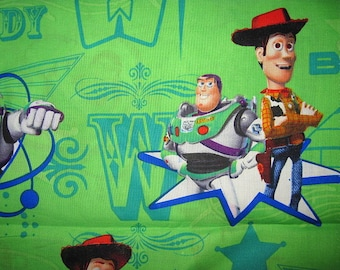 TOY STORY, Cotton Fabric, Green, toy story remnant, toy story fabric, buzz, woody, 24X22, fat quarter, oversized, scrap