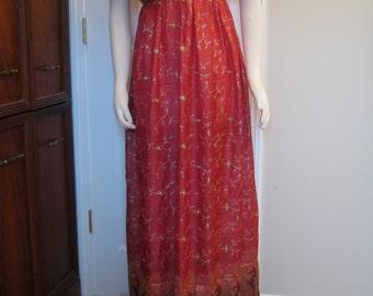 Regency Red Silk Sari Dress