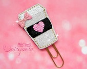 COFFEE CUP Glitter Paperclip in black, pink, and white