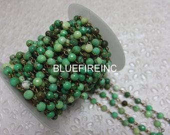 3 feet Faceted 6mm Green Grass Jasper beads with Antique Bronze Wire Chain // Beaded Gemstone Jewelry Chain // Unfinished Chain