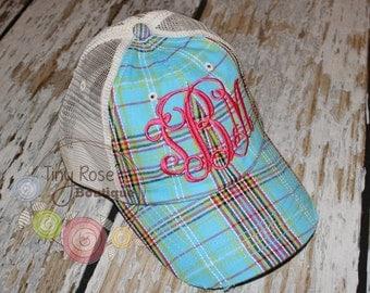 Plaid Trucker Hat, Aqua Plaid - Monogrammed Ball Cap, Personalized Trucker Hat