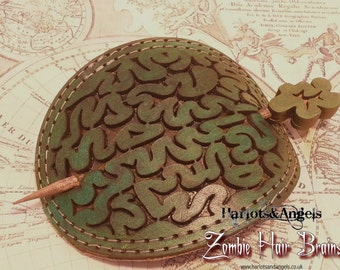 Zombie Brain essential Brain cooling Device! Hand crafted Brown Leather Hair barrette
