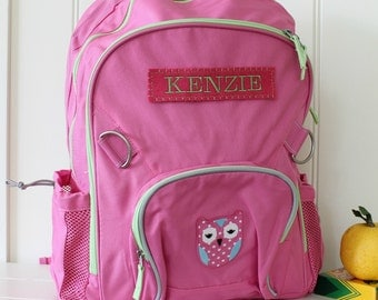 Large Backpack With Monogram -- Pink/Green with Owl Patch
