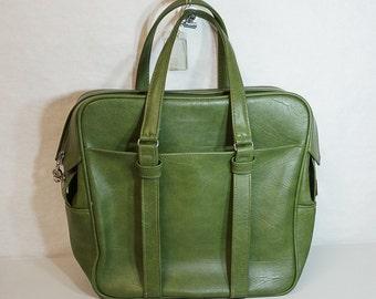 Green Samsonite Sihouette Luggage Shoulder Bag Overnight Vinyl Vintage
