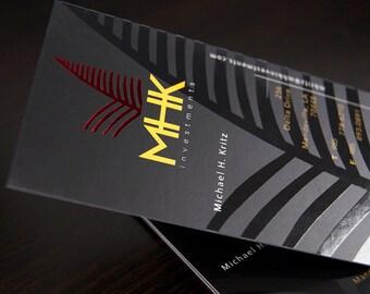 500 Business Cards - spot UV and metallic foil - 16PT silk laminated stock -  custom printed - you choose foil color