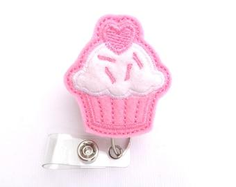 Badge reel Retractable badge holder - Sweet Treat Cupcake badge reel - pink and white felt - nurse badge reel medical badge reel