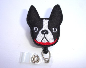Cute Badge Holder Retractable - Boston terrier - dog black felt badge reel - medical staff veterinarian teacher nurse