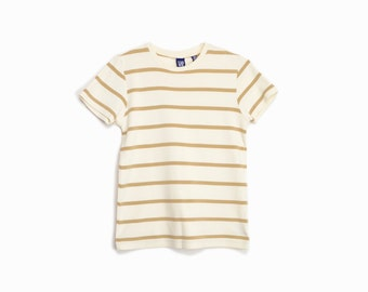 Vintage 90s Striped Tee in Toffee & Cream / Short Sleeve T-Shirt  - women's small